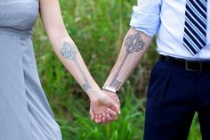 matching Key #tattoos to celebrate their marriage interesting-tattoos