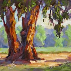 EUCALYPTUS TREES, FARM, CALIFORNIA IMPRESSIONIST PLEIN AIR PAINTING by TOM BROWN, painting by artist Tom Brown