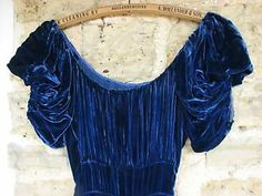 1930s Sapphire Blue silk velvet dress with huge sweep (one of mine, selling)