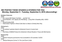 MON - TUE, (9/5 - 9/6/2016) at the MDHealthChannels (Multiple Sclerosis…
