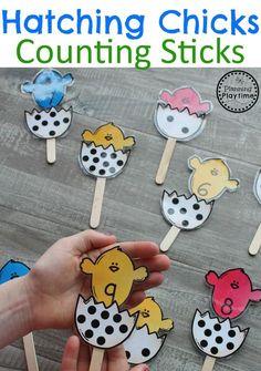Easter Preschool Activities - Hatching Chicks Counting Sticks. #easter #preschool #easteractivities #easterpreschool #planningplaytime #counting #preschoolmath