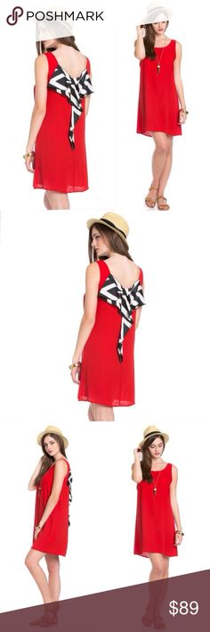 🎀ABBY Bow-Back Dress 💖ABBY Bow-Back Dress. Colors are red/white/black. Super cute and pretty! This dress is great for spring, summer, and all season. We bought this on our trip to Europe. parties beach road trips shopping night out vacation traveling cruises after work attire girly.  prep preppy trendy in style stylish sophisticated classy chic fun pretty beautiful shirt popular fashion womens club party wedding bridal showers baby showers birthdays dinners dancing going out Five O'clock…