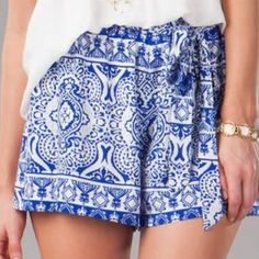 BLUE PATTERN SHORTS