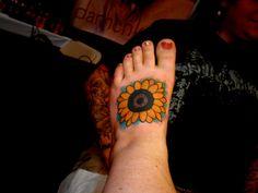 Sunflower Tattoos On Foot