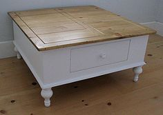 Distressed Farmhouse Table | Cottage Style New Farm Square Coffee Table Drawer Solid Wood 30 Paints ...