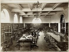 Mitchell Library Reading Room, 1911-1912, by unknown photographer.    The Mitchell Library was officially opened on 8 March 1910, and opened to the public the next day, 9 March.     Find more detailed information about this photograph: http://acms.sl.nsw.gov.au/item/itemDetailPaged.aspx?itemID=850368    From the collection of the State Library of New South Wales: http://www.sl.nsw.gov.au