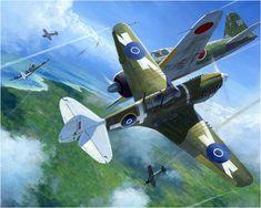 Curtiss P-40 Warhawk vs un Zero en los alrededores de Rabaul, la isla fortaleza del Japón, 1943–44. Mark Postlethwaite http://www.elgrancapitan.org/foro/viewtopic.php?f=52&t=17924&p=886873#p886873