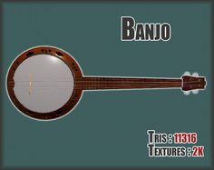 Banjo PBR textures model   3D Model