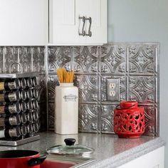Fasade 19 in. x 24 in. Traditional Style # 1 PVC Decorative Backsplash Panel in Crosshatch Silver - The Home Depot Adhesive Tile Backsplash, Decorative Tile Backsplash, Wall Tile Adhesive, Backsplash Panels, Backsplash Ideas, Metal Kitchen Backsplash, Penny Backsplash, Vinyl Panels, Tile Trim