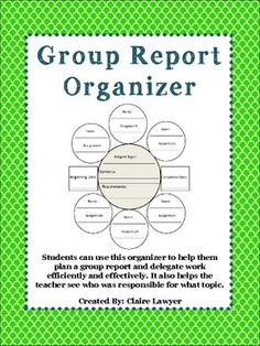 This group project graphic organizer is a great way to help your students stay on task and delegate work effectively and efficiently! Now, not one student will have to be responsible for the entire project and you will be able to see who signed up for the different parts of the project!