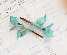 Leaf Branch Bobby Pins Hair Mint Green Verdigris Patina Woodland Wedding Aqua Blue Green Leaves Fairy Faerie Nature Garden Wedding Bridal by redtruckdesigns on Etsy