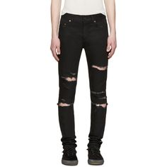 Saint Laurent Black Skinny Destroyed Jeans ($890) ❤ liked on Polyvore featuring men's fashion, men's clothing and men's jeans