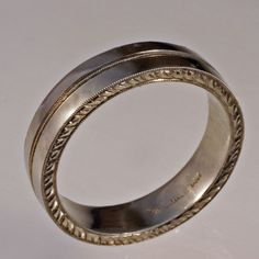 Man's Wedding Band VINTAGE STYLE ENGRAVING in 14k White or Yellow Gold on Etsy, $1,100.00