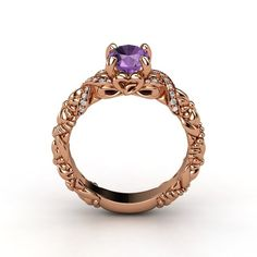 The Knotted Bouquet Ring customized in amethyst, diamond and rose gold