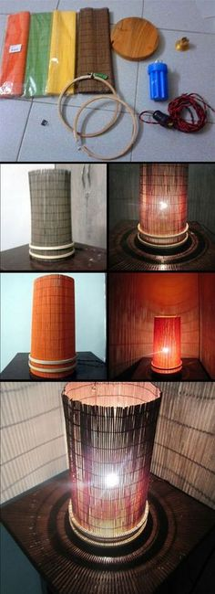 Table lamp with interchangeable bamboo mat