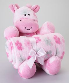 30'' x 40'' Pink Flower Stroller Blanket & Plush Toy