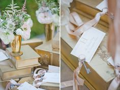 Using skeleton keys as the weight to hold down the place cards over scattered books that serve as displays