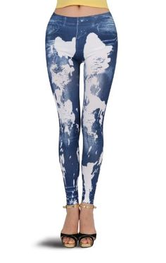 2b1acd7f4fe6d Beau Corner Women Graffiti Paint Ripped Effect Fake Jeans Legging Tregging  Tight -- Learn more by visiting the image link.