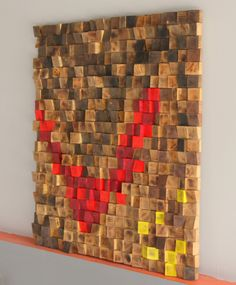 Rustic Wood wall Art, Wood wall sculpture Abstract wood art, Woodburning Reclaimed Wood wall Art, Wood mosaic, Geometric art, Wood wall art by GBandWood on Etsy