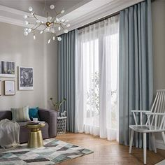 BigTown Collection Package 2 panels Mateial BigTown s decorative curtain have a soft texture fade, stain, shrink and wrinkle resistant. The fabric gives a na Simple Living Room Decor, Elegant Living Room, Living Room Seating, Living Room Modern, Living Room Designs, Blue Curtains Living Room, Home Curtains, Window Drapes, Blue Drapes