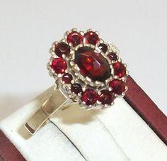 Vintage Ringe - Goldring mit Granatsteinen 900 RSG 18,2 mm GR118 - ein…