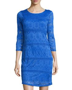 Shop Lace Dress, Brilliant Blue from Neiman Marcus at Neiman Marcus Last Call, where you'll save as much as on designer fashions. Lace Dress With Sleeves, Lace Dresses, Last Call, Clearance Sale, Neiman Marcus, Dress Outfits, Sweaters, Blue, Clothes