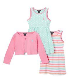 Aurora Pink Polka-Dot & Stripe A-Line Dress & Shrug Set - Toddler