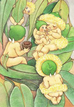 The Gumnut Babies as drawn by May Gibbs, author and illustrator Vintage Fairies, Flower Fairies, Fairies Garden, Children's Book Illustration, Book Illustrations, Fairy Art, Australian Artists, Vintage Children, Faeries