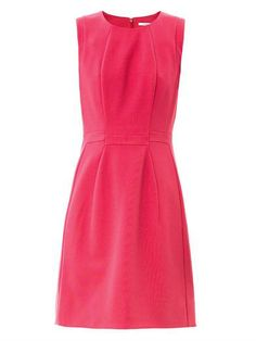 his pink stretch-jersey dress is sleeveless, has a round-neck and a hidden zip centre back fastening. The dress has a fitted top and a slight A-line skirt.