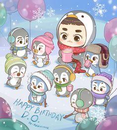 Happy Birthday actor Do Kyungsoo~! Kyungsoo, Kpop Exo, Kokobop Exo, Exo Memes, Chibi, Exo Birthdays, Exo Cartoon, Exo Anime, Exo Music