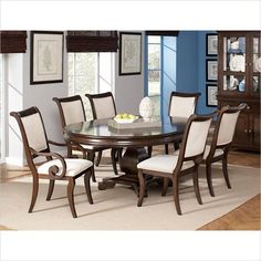 Coaster Harris 7 Piece Dining and Chair Set in Cherry - 10411X-7Pc-PKG - Lowest price online on all Coaster Harris 7 Piece Dining and Chair Set in Cherry - 10411X-7Pc-PKG