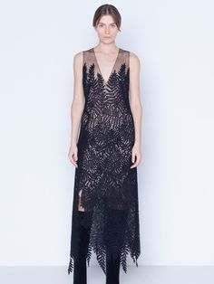 Sleeveless wrap style long dress in wool with fern embroidery and v-neck. The dress comes with an underpinning slip dress. Looks amazing for a night out! Embroidery Dress, Wool Dress, Wrap Style, Ferns, Knit Cardigan, Night Out, Cashmere, Stylists, Silk