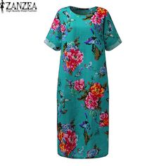 2017 ZANZEA Women Short Sleeve O Neck Summer Floral Print Cotton Linen Baggy Casual Loose Split Kaftan Maxi Long Dress Plus Size #Affiliate