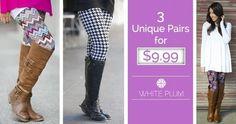 3 Pairs of White Plum Leggings for $9.99!