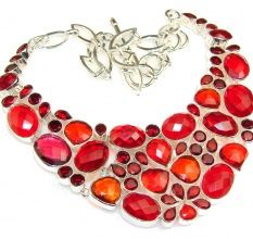 Great Passion Created Red Quartz Sterling Silver necklace