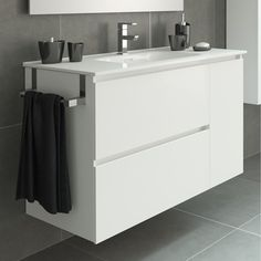 banos modernos Archives - Page 6 of 115 - From Parts Unknown Bathroom Basin Cabinet, Wash Basin Cabinet, White Vanity Bathroom, Bathroom Fixtures, Small Bathroom, Washroom Design, Bathroom Interior Design, Mini Bad, Washbasin Design