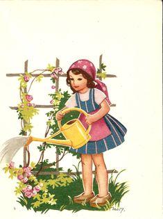 Kirjeitä myllyltäni: Martta Wendelin Vintage Girls, Vintage Children, Vintage Art, Fields In Arts, Fairy Tales For Kids, Antique Prints, Martini, Illustration Art, Watering Cans