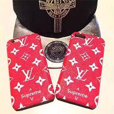 新作 LV supreme iphone8ケース iphone8plusケース 可愛い赤色 iphone7 iphone7plusケース ジャケット 革製 ルイヴィトン シュプリーム コラボ アイフォンハードケース