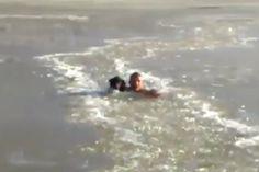 Homem se arrisca em lago congelado para salvar cão