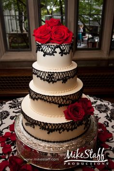 #wedding cake #wedding cake topper #tiered cake Michigan wedding #Mike Staff Productions #wedding details #wedding photography #white #red #black #lace