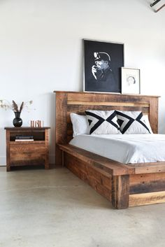 Warm up your bedroom with our rustic looking reclaimed wood platform bed made from old growth oak, maple, and pine for your bedroom. Unique in nature each bed shows off its own history with knots, color variations, and natural imperfections making it a one-of-a-kind heirloom piece of