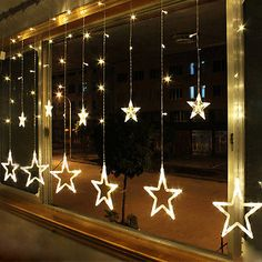 Warm White 12 Twinkling Stars Christmas Fairy String Lights Window Display 48LED
