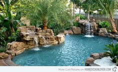 Waterfalls can also add nature's touch to a swimming pool like this one.