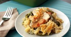 Baked cheesy orzo with chicken and asparagus - Everyday Dishes