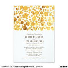 """Faux Gold Foil Confetti Elegant Wedding Invitation 5"""" X 7"""" Invitation Card"""