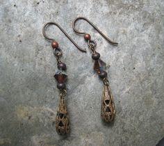 Simple Dangle Earrings in Antique Brass Lead by SleepingCatDesigns