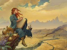 Interior illustration of Shallan by Michael Whelan for Words of Radiance by Brandon Sanderson.  This will be on the endpapers of book #2 of The Stormlight Archive.