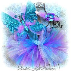 Turquoise & Purple Butterfly Tutu Set Baby by RachelsKidsBoutique