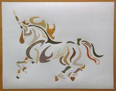 Défi d' avril: Tableau de sable: Hommage à la Licorne : Décorations murales par celined