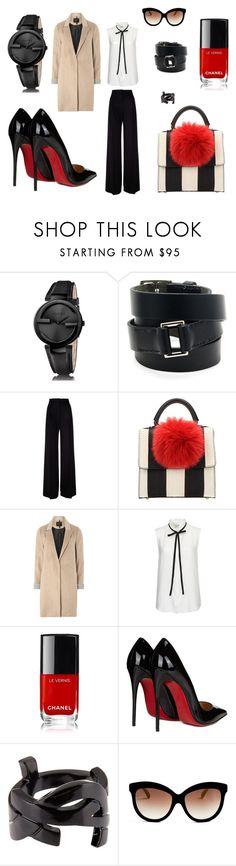 """Set for Alina 5"" by julia-ikkonen on Polyvore featuring мода, Gucci, Hermès, MaxMara, Les Petits Joueurs, mel, Frame Denim, Christian Louboutin, Yves Saint Laurent и Italia Independent"
